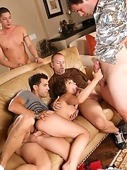 Innocent Katie St. Ives Takes On Four Beefy Sperm Shooting Cocks